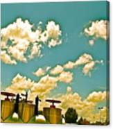 Clouds Over Oil Field Equipent Canvas Print