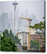 Cloudy And Foggy Day With Seattle Skyline Canvas Print