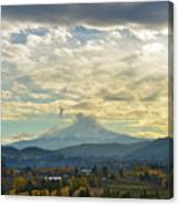 Cloudy Day Over Mount Hood At Hood River Oregon Canvas Print