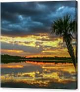 Cloudy Lake Sunset Canvas Print