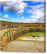 Clovelly Harbor Breakwater In Devon, Uk Canvas Print