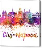 Cluj-napoca Skyline In Watercolor Splatter Canvas Print