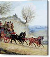 Coaching Oil Of A Royal Mail Coach Crossing Landscape Canvas Print