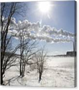Coal Fired Power Plant In Winter Canvas Print