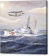 Coast Guard Cutter Pontchartrain And Coast Guard Aircraft  Canvas Print