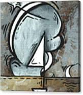 Coastal Art Contemporary Sailboat Painting Whimsical Design Silver Sea I By Madart Canvas Print