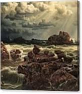 Coastal Landscape With Ships On The Horizon Canvas Print