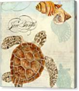 Coastal Waterways - Green Sea Turtle Rectangle 2 Canvas Print