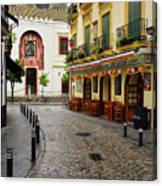 Cobblestone Argote De Molina Street With Cafe Ending At The Nort Canvas Print
