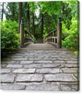 Cobblestone Path To Wood Bridge Canvas Print