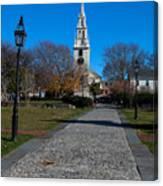 Cobblestone To Trinity Church Newport Rhode Island Canvas Print