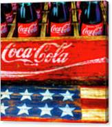 Coca Cola And Wooden American Flag Canvas Print