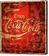 Coca Cola Square Aged Texture Black Border Canvas Print