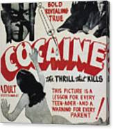 Cocaine Movie Poster, 1940s Canvas Print