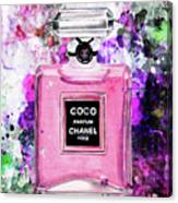 Coco Chanel Parfume Pink Canvas Print