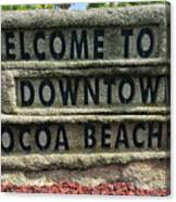 Cocoa Beach Welcome Sign Canvas Print
