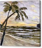 Coconut Palms On Cloudy Day Canvas Print