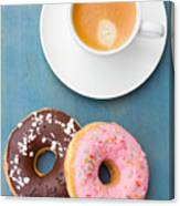 Coffee And Baked Donuts Canvas Print