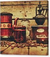 Coffee Bean Grinder Beside Old Pot Canvas Print