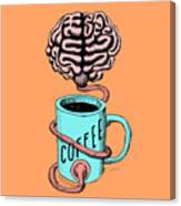 Coffee For The Brain Funny Illustration Canvas Print