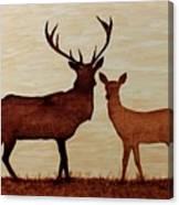 Coffee Painting Deer Love Canvas Print