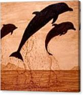 Coffee Painting Dolphins Playing Canvas Print