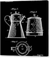 Coffee Pot Patent 1916 Black Canvas Print