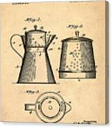 Coffee Pot Patent 1916 Sepia Canvas Print