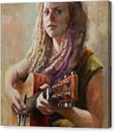 Coffee Shop Girl Canvas Print