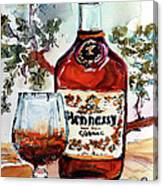 Cognac Hennessy Bottle And Glass Still Life Canvas Print