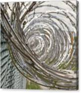 Coiled Razor Wire On Fence Canvas Print