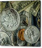 Coins And Bills Canvas Print