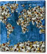 Coins World Map Canvas Print