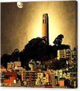 Coit Tower And The Empress Of China Under The Golden Moonlight Canvas Print