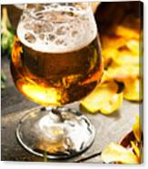 Cold Beer And Delicious Snacks Canvas Print