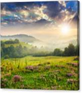 Cold Fog In Mountains On Forest At Sunset Canvas Print