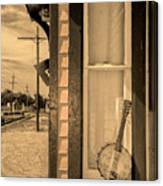 Cold Point Village Station - Banjo Mandolin In Sepia Canvas Print