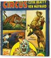 Cole Bros Circus With Clyde Beatty And Ken Maynard Vintage Cover Magazine And Daily Review Canvas Print