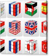Collage Of Flags Of Different Nation  Canvas Print