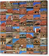 Collage Roof And Windows - The City S Eyes Canvas Print