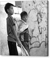 Collecting For Our Rice Canvas Print