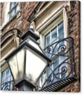 Colonial Lamp And Window Canvas Print