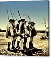 Colonial Soldiers Standing At Attention Canvas Print