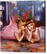 Color Of Melody -two Young Ballerina Canvas Print