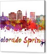 Colorado Springs V2 Skyline In Watercolor Canvas Print