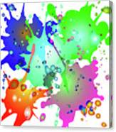 Colored Splashes On A Blue Background Canvas Print