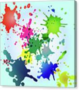 Colored Splashes On A Very Beautiful Blue Background Canvas Print