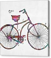 Colorful 1890 Bicycle Patent Minimal Canvas Print
