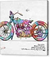 Colorful 1928 Harley Motorcycle Patent Artwork Canvas Print