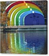 Colorful Bandshell And Swan Canvas Print